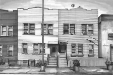 'Brooklyn Houses' (SOLD) Pen on paper 2014
