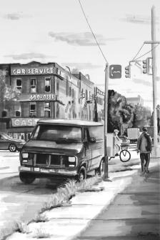 'Crosstown' (SOLD) Pen on paper 2014