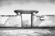 'Mens Bathing Shelter' (SOLD) Pen on paper 2014